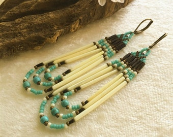 Turquoise Porcupine Quill earrings , native style handmade jewelry , beadwork