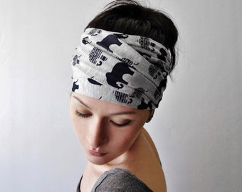 ELEPHANT Print Head Scarf - Bohemian Hair Wrap - Elephant Scarf - Yoga Headband - Jersey Headscarf - Yoga Hair Accessories - Grey and Blue