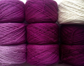 Gradient yarn set - pure cashmere, handdyed yarn lace 300g- hand painted dyed shawl ombre - From white to plum.