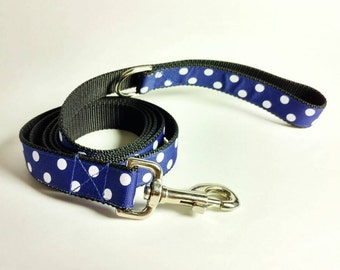Blue Leash, Blue Lead, Leash and Leads, Dog Leads, Dog Leash, Dog Leash and Leads, Blue Dog Leash, Leash - White Polka Dots on Dark Blue