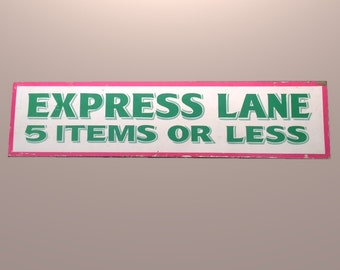 Vintage Grocery Store Express Lane Aisle Sign Mid Century Home Decor 1950s 50s 1960s 60s FIVE ITEMS or Less