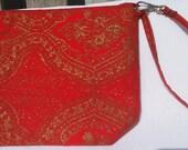 red wristlet, tapestry wristlet, red tapestry wristlet, handmade wristlet
