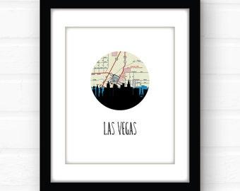 Las Vegas skyline art | Las Vegas art | Las Vegas sign | Las Vegas wall art | Las Vegas print | Las Vegas NV | city map art | Nevada sign