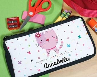 Personalized XoXo Cat Pencil Case [school, supplies, girl, school supplies, pencil case, back to school] -gfyu104747