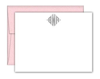 Diamond Monogram Foil Note Cards - Monogram Note Cards - Monogram Stationery - Monogrammed Stationery - Personalized Stationery