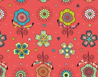 05021 -Camelot Fabrics Petite Plume Flowers in coral  - 1 yard