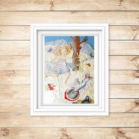 Alice in Wonderland.  Express Free shipping handmade papercuts OOAK