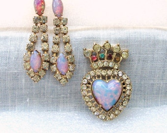 Faux Opal and Rhinestone Claddagh Pin and Earrings Vintage