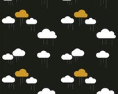 LAMINATED cotton fabric (aka oilcloth coated wipeable fabric) by the yard - Sparkle Gold Rain Clouds on black EXCLUSIVE Safe for children