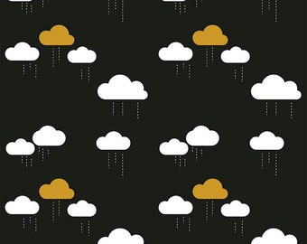 1/2 yard SPARKLE LAMINATED cotton fabric (similar to oilcloth) - 18 x 40 - Sparkle Gold Rain Clouds EXCLUSIVE - Approved for children