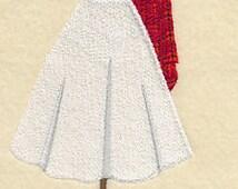 Scottish Female Dress Form Embroidered Flour Sack Hand/Dish Towel