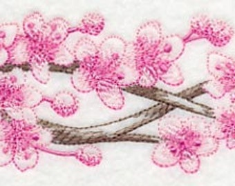 Cherry Blossom Branch Embroidered Flour Sack Hand/Dish Towel