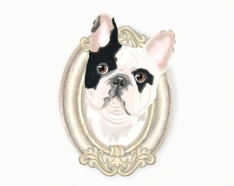 French Bulldog Tiny Art Print - Black and White - Dog Art Print - Tiny Frenchie in a Frame
