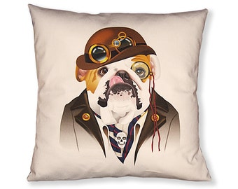 Bulldog Steampunk Pillow Cover - Brown White Gold - Steampunk Dog - Square Pillow