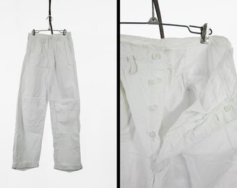 Vintage 1930s White Cotton Trousers Pleated Button Fly Wide Leg - 28 x 31