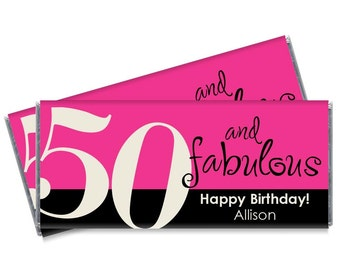 Set of 12 - 50 and Fabulous Candy Bar Wrappers - 30th, 40th, 50th, 60th - Any Age Adult Milestone Party Favors