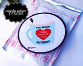 Hot Cocoa Heart Cups Round Valentine  Bag Tags Digital - Kids Label Tags - Instant Download