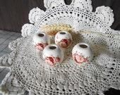 4 Lg Glazed Ceramic Macrame Beads-Round Shaped-Handcrafted-Pink & Red Roses Decal-LD11