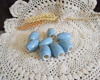 8 Sm Glazed Ceramic Macrame Beads-Oval Shaped-Handcrafted-Blue-Summer Blue-SO10