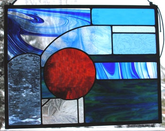 Blue Abstract Red Sun Stained Glass Window Panel Ready to Ship