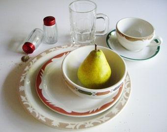 Vintage, Place Setting, Mix and Match, Restaurantware, Duraline, Maddock, Syracruse, Armorlite, Mid Century, Restaurant Ware, Hotelware