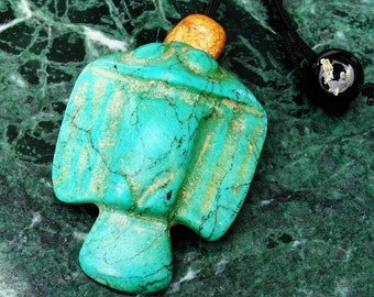 Ancient Turquoise Eagle Hawk Owl Bird Pendant Necklace with Old Antique Tibetan Agate Beads by NeoWare