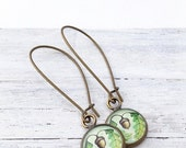Clearance Sale Bronze Acorn Earrings- green blue brown-oak-nature jewelry-oak leaf-woodland jewelry