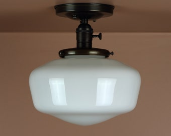"Semi Flush Light w/ 9.5"" School House Globe - Hand Finished in Oil Rubbed Bronze - Lighting for Low Ceilings"