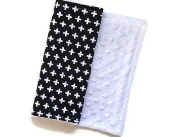 Baby Burp Cloth Black Plus Remix - Minky Burp Cloth - Black Burp Cloth - Baby Shower Gift - Monochrome Burp Cloth - Plus Sign Burp Cloths