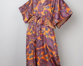 Kaftan Dress / Paisley Dress / Boho Dress / Caftan Long Summer Maxi Dress with Paisley Print : Bohemian Kaftan Collection No.1