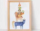 Animal Tower Nursery Print A4