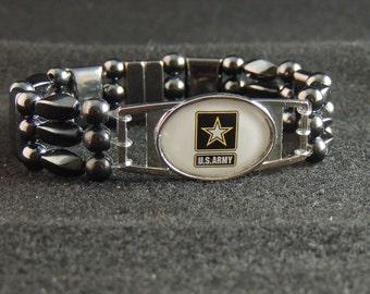 US Army Commemorative Magnetic Hematite Bracelet
