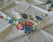 Hand Embroidered Tablecloth / Fluffy Cotton Floral Tablecloth / White Cotton / Autumn Tablecloth / Rich Colors / Red & Blue Flowers