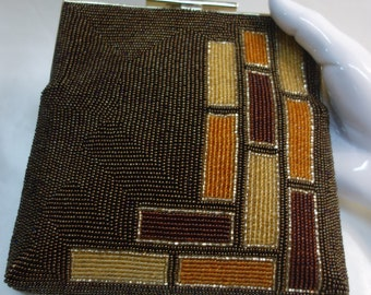 Vintage Beaded Purse Abstract Mod Evening Purse/Clutch