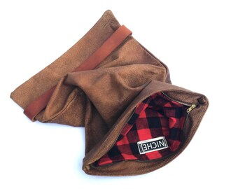Oversized Slouch Clutch-Rustic Brown
