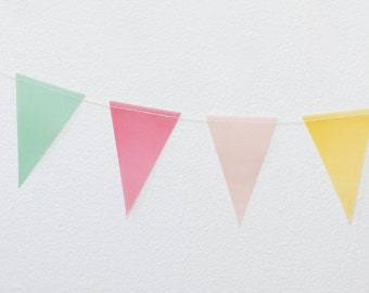 Colorful Vellum Mini Pennant Garland - 8 feet with 32 Pennants
