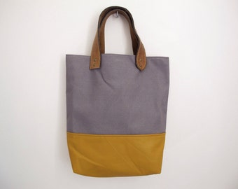 Grey Canvas and Mustard Yellow Leather Tote Bag
