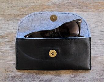 Black Repurposed Leather Glasses Case
