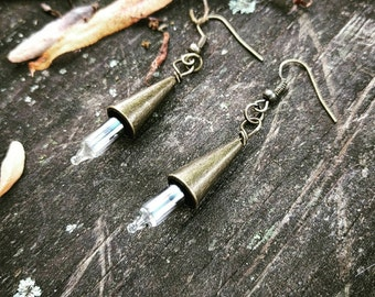 Steampunk Brass Cone Lightbulb Earrings