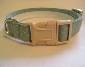 Handmade Cotton Dog Collar - Green with Tiny Dots