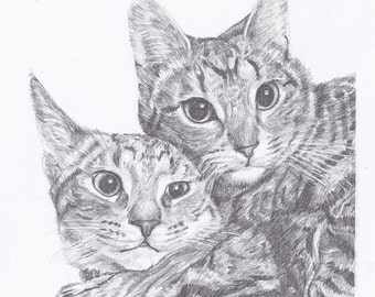 """Custom Pet Portrait 8x10"""" - Drawing From Your Photo - Two Subjects - Pet Drawing"""