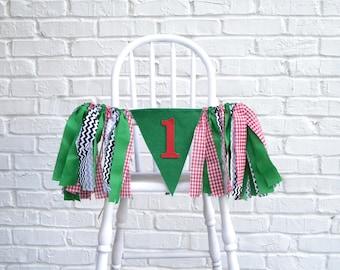 Girl Birthday Banner - 1st birthday banner - Christmas 1st Birthday - Christmas Birthday - Christmas Birthday Party - Girl Birthday banner