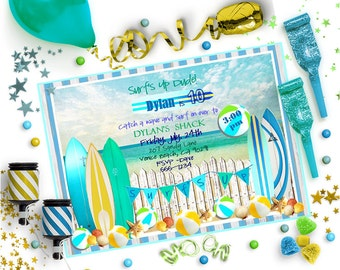 SURFBOARD INVITATION ~ Personalized Printable Download