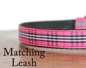 Pink Plaid Dog Leash, Designer Leash, Plaid Leash