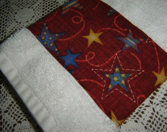 Americana white hand/dish towel w/stars/swirls on red fabric, patriotic holidays, country decor, fireworks, USA, cotton terry, hostess gift