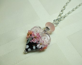 Heart Lampwork Bead Pendant Necklace With White Polka Dots