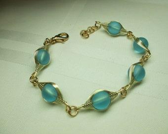 Aqua and Gold Bubble Bead Bracelet