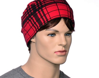 Red Black Round Nightcap Cotton Yoga Hat Adult Men Soft Night Cap Sleeping Hat Glasglow Plaid Beanie Smoking Hat Thinking Cap Mens Nightcap