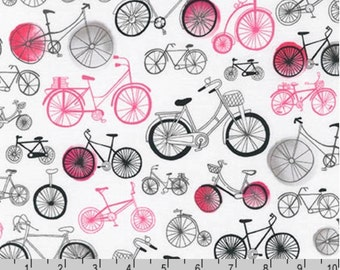 Paris Adventure - Bikes White Pink by Margaret Berg from Robert Kaufman