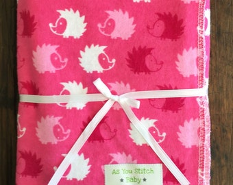 "Flannel Receiving Blanket. Extra Large for Swaddling - 40""x40"" Pink Hedgehogs"